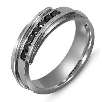 Item # M306327PP - Platinum Black Diamonds Wedding Band