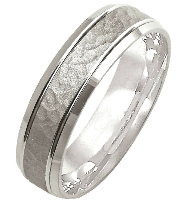 Item # M308096WE - 18K white gold, 6.0mm wide, comfort fit, center part hammered wedding band.