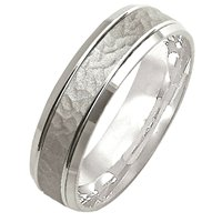 Item # M308096W - 14K White gold Hammered Wedding Band