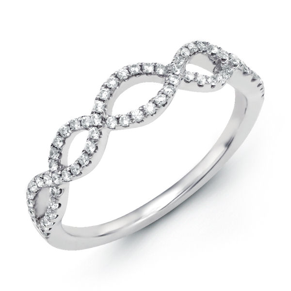 Item # M30840PP - Platinum, diamond anniversary and infinity style ring. There are a total of about 66 round diamonds set in the ring. The diamonds are about 0.24 ct tw, VS1-2 in clarity and G-H in color.