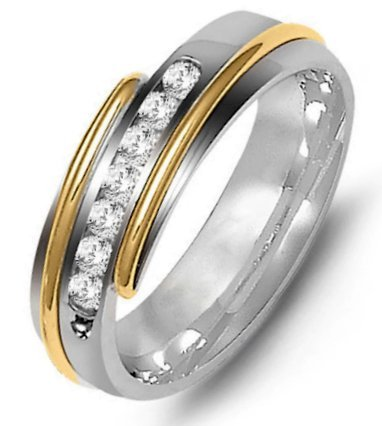 Item # M316327E - 18K two-tone gold, 7.0mm wide, comfort fit, diamond wedding band. The wedding band holds 7 round diamonds with 0.35ct total weight. Diamonds are graded as VS in clarity G-H in color.