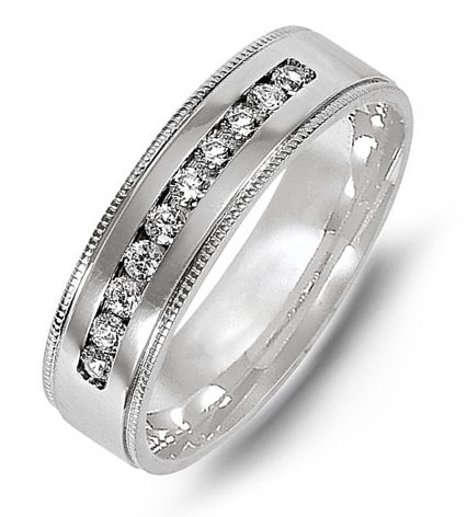 Item # M316416WE - 18K white gold, comfort fit, 6.0mm wide diamond wedding band. The wedding band holds 10 round brilliant cut diamonds with total weight of 0.30ct. The diamonds are graded as G-H in color, VS in clarity.