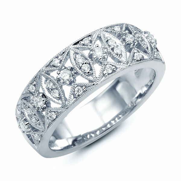 Item # M31746W - 14kt white gold, diamond annivesary ring & fashion ring. There are about 28 round diamonds set in the ring. The diamonds are about 0.27 ct tw, VS1-2 in clarity and G-H in color. There are milgrain around the diamonds for design.