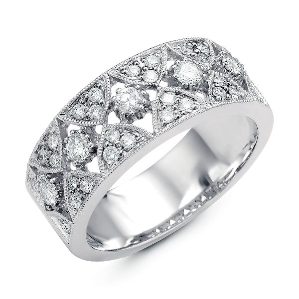 Item # M31747PP - Platinum, diamond anniversary ring & fashion ring. There are about 33 round diamonds set in the ring with milgrain edges. The diamonds are about 0.57 ct tw, VS1-2 in clarity and G-H in color.
