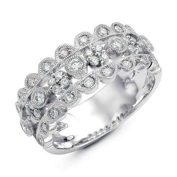 Item # M31748WE - 18kt white gold, diamond anniversary ring & fashion ring. There are about 33 round diamond set in the ring. The diamonds are about 0.53 ct tw, VS1-2 in clarity and G-H in color.