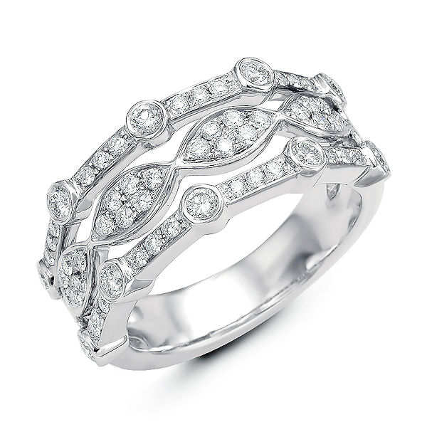 Item # M31749W - 14kt white gold, diamond anniversary ring & fashion ring. There are 58 round diamonds set in the ring. The diamonds are about 0.80 ct tw, VS1-2 in clarity and G-H in color.