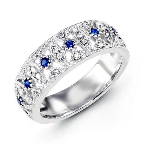 Item # M31757WE - 18kt white gold, diamond & sapphrie anniversary ring. There are 28 round diamonds and sapphires set in the ring. The diamonds are about 0.14 ct tw, VS1-2, G-H and the genuine blue sapphire are about 0.13 ct tw.