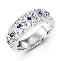 Item # M31757W - 14K White Gold Diamond & Sapphire Ring
