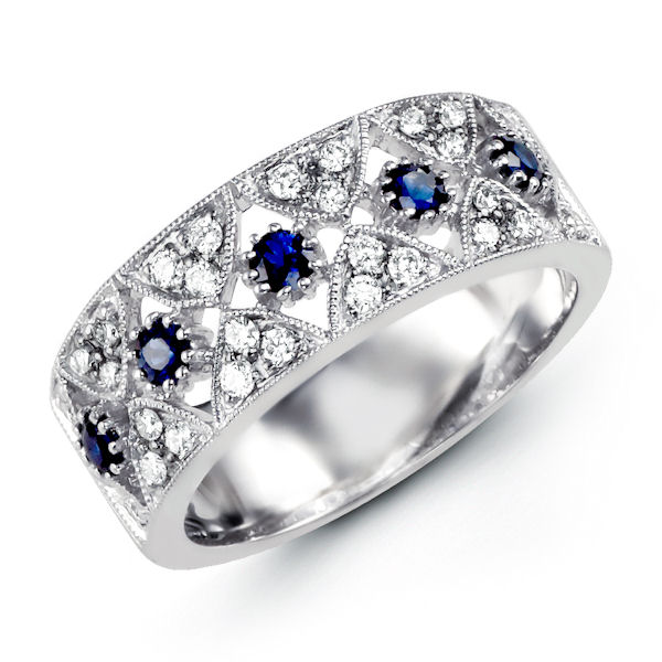 Item # M31758WE - 18kt white gold, diamond & sapphire, anniversary ring. There are a total of 33 round stones in the ring. There are about 0.29 ct tw VS1-2, G-H, diamonds and 0.36 ct tw genuine blue sapphires.