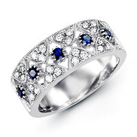Item # M31758W - 14K White Gold Diamond & Sapphire Ring