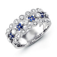 Item # M31759W - 14K White Gold Diamond & Sapphire Ring