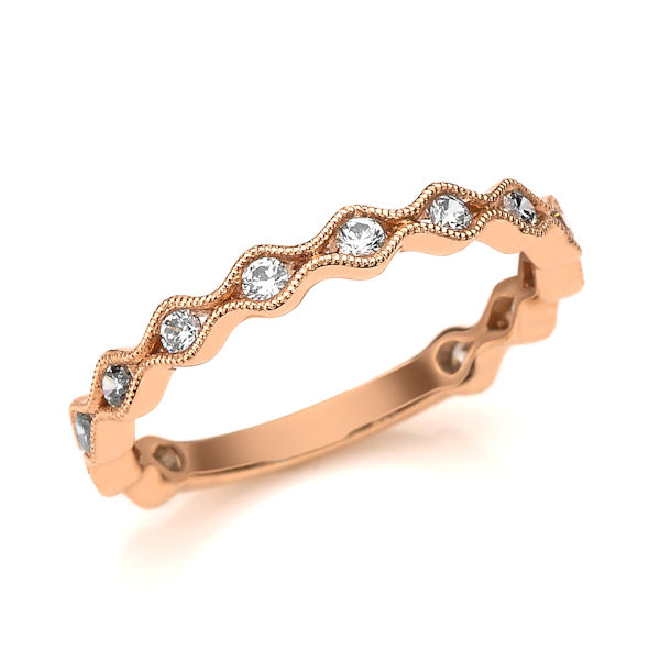 Item # M31887R - 14kt rose gold diamond anniversary and stackable ring. There are 13 round brilliant cut diamonds set in the ring with milgrain designs. The diamonds are about 0.33 ct tw, VS1-2 in clarity and G-H in color.