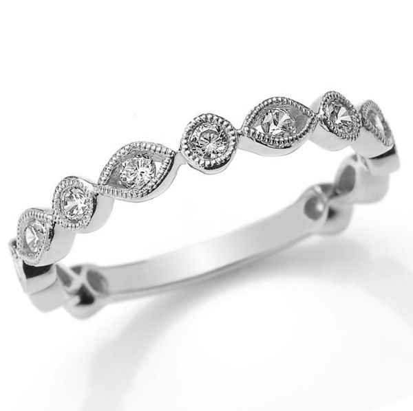 Item # M31888PP - Platinum diamond anniversary and stackable ring. There are about 13 round brilliant cut diamonds set in the ring. The diamonds are about 0.40 ct tw, VS1-2 in clarity and G-H in color.