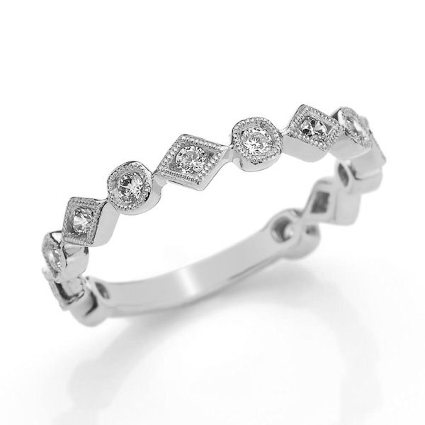 Item # M31891W - 14kt white gold diamond anniversary and stackable ring. There are 13 round brilliant cut diamonds set in the ring. The diamonds are about 0.35 ct tw, VS1-2 in clarity and G-H in color.
