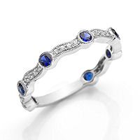 Item # M31902W - 14K White Gold Diamond & Sapphire Stackable Ring