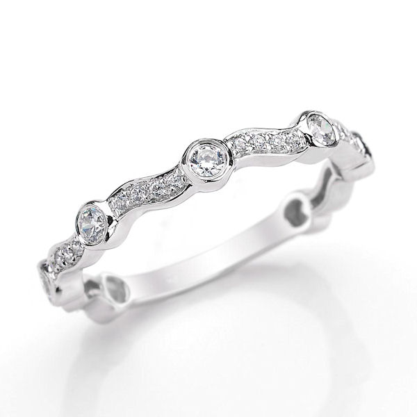 Item # M31903W - 14kt white gold diamond anniversary and stackable ring. There are about 31 round brilliant cut diamonds set in the ring. The diamonds are about 0.40 ct tw, VS1-2 in clarity and G-H in color.