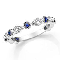 Item # M31904W - 14K White Gold Diamond & Sapphire Stackable Ring