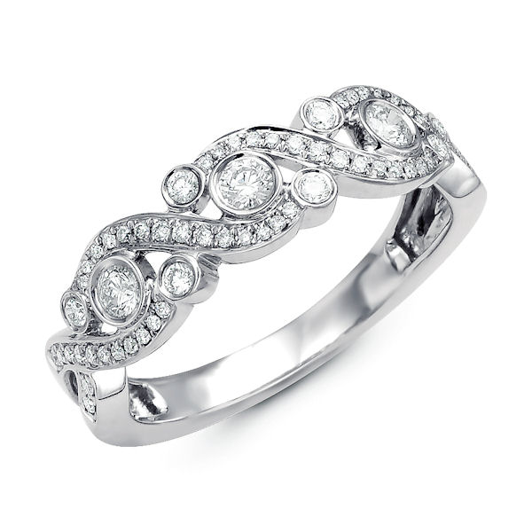 Item # M31909PP - Platinum diamond ring. There are about 63 round brilliant cut diamonds set in the ring. The diamonds are about 0.37 ct tw, VS1-2 in clarity and G-H in color.
