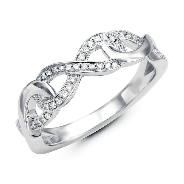 Item # M31910W - 14kt white gold infinity styles diamond ring. There are about 39 round brilliant cut diamonds set in the ring. The diamonds are about 0.14 ct tw, VS1-2 in clarity and G-H in color.