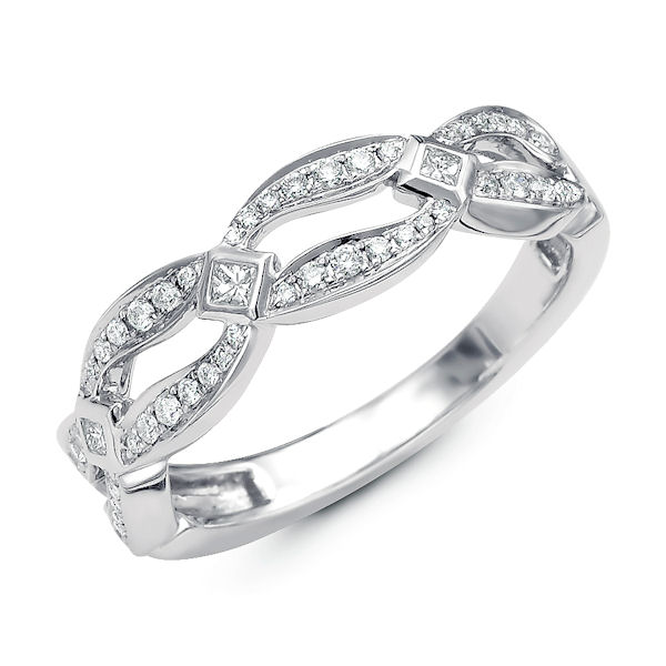 Item # M31911PP - Platinum diamond annivesary and fashion ring. There are 52 round & princess cut diamonds set in the ring. The diamonds are about 0.28 ct tw, VS1-2 in clarity and G-H in color.