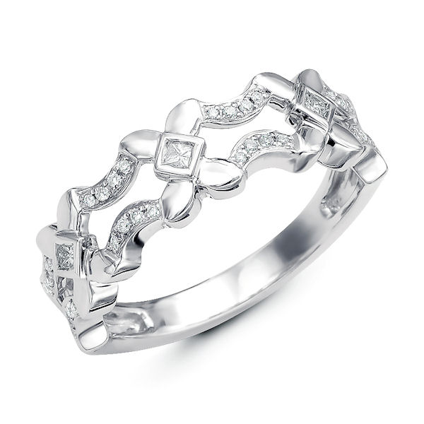 Item # M31912WE - 18kt white gold diamond annivesary and fashion ring which can also be used as stackable rings. There are about 32 round brilliant cut & princess cut diamonds set in the ring. The diamonds are about 0.16 ct tw, VS1-2 in clarity and G-H in color.