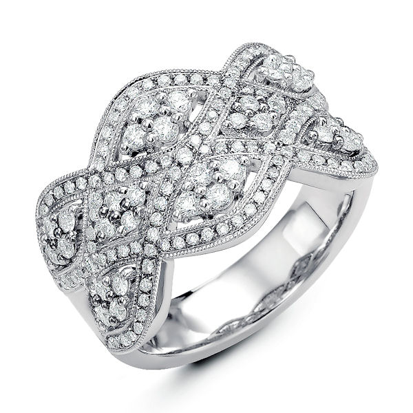 Item # M31960W - 14kt white gold, vintage, diamond anniversary and fashion ring with milgrain designs. There are about 153 round brilliant cut diamonds set in the ring. The diamonds are about 0.78 ct tw, VS1-2 in clarity and G-H in color.