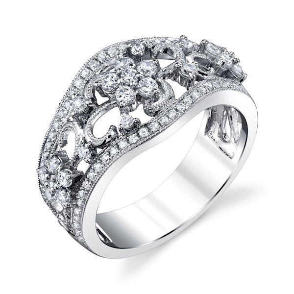 Item # M31963PP - Platinum, vintage, diamond annivesary and fashion ring with milgrain designs. There are about 106 round brilliant cut diamonds set in the ring. The diamonds are about 0.77 ct tw, VS1-2 in clarity and G-H in color.