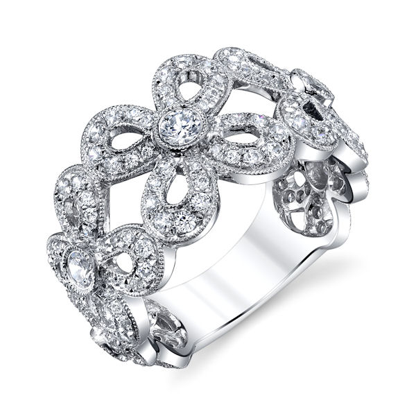 Item # M31965PP - Platinum, vintage, diamond floral ring with milgrain edges. There are about 157 round brilliant cut diamonds set in the ring. The diamonds are about 1.05 ct tw, VS1-2 in clarity and G-H in color. The ring is about 11.8 mm wide.