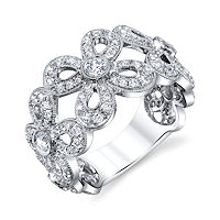 Item # M31965PP - Platinum Floral 1.05 Ct Tw Diamond Ring
