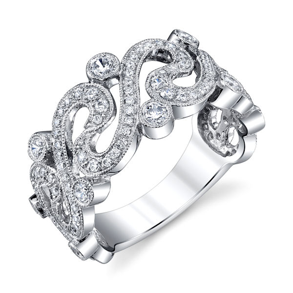Item # M31966WE - 18kt white gold, vintage, diamond anniversary and fashion ring with milgrain edges. There are about 125 round brilliant cut diamonds set in the ring. The diamonds are about 0.70 ct tw, VS1-2 in clarity and G-H in color. The ring is about 10.0 mm wide