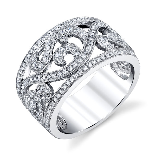 Item # M31967W - 14kt white gold, diamond anniversary and fashion ring with milgrain design. There are about 211 round brilliant cut diamonds set in the ring. The diamonds are about 0.78 ct tw, VS1-2 in clarity and G-H in color. The ring is about 11.6 mm wide.