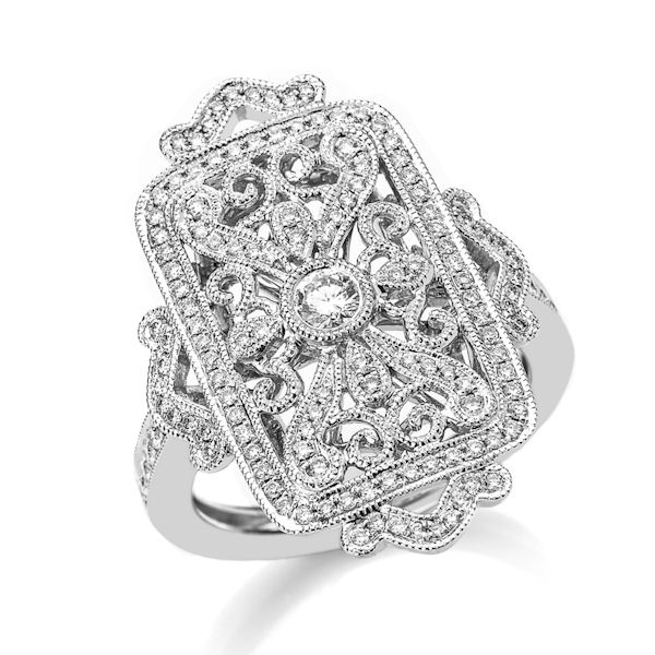 Item # M32099WE - 18kt white gold, vintage,  diamond fashion ring with milgrain edges. There are about 131 round brilliant cut diamonds set in the ring. The diamonds are about 0.52 ct tw, VS1-2 in clarity and G-H in color.