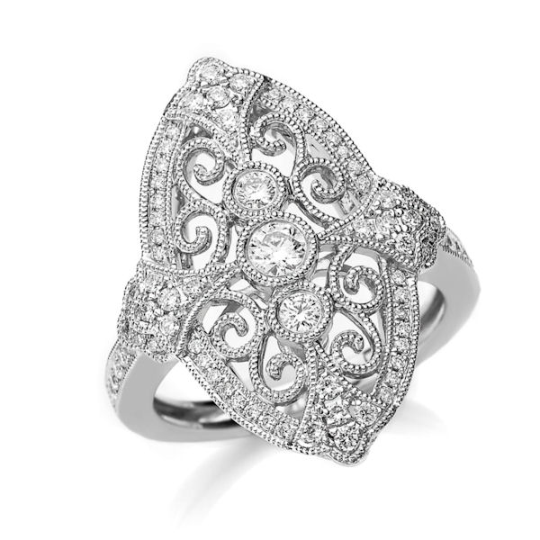 Item # M32100WE - 18kt white gold, vintage, diamond fashion ring with milgrain edges. There are about 75 round brilliant cut diamonds set in the ring. The diamonds are about 0.53 ct tw, VS1-2 in clarity and G-H in color.