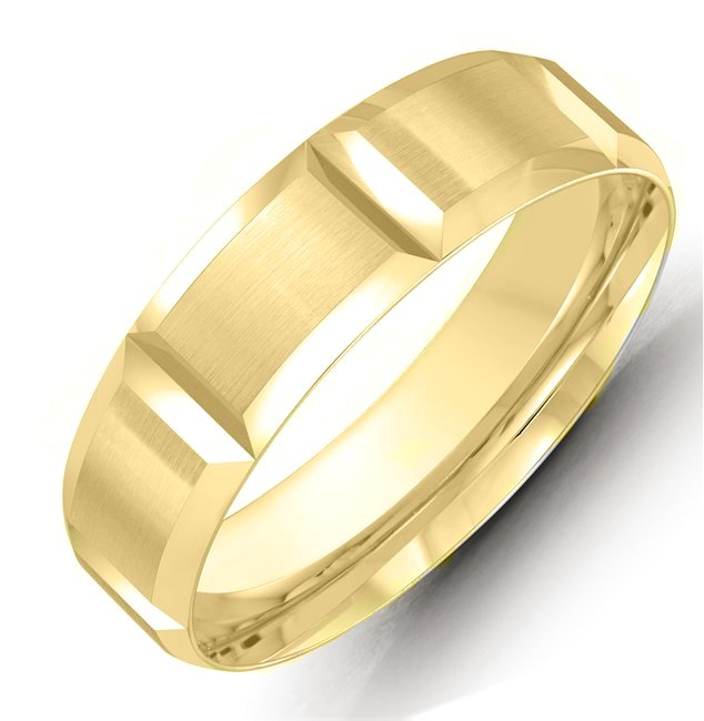 Item # M36072 - 14kt yellow gold 6.0mm wide comfort fit wedding band. The ring is satin finished. Different finishes are available.