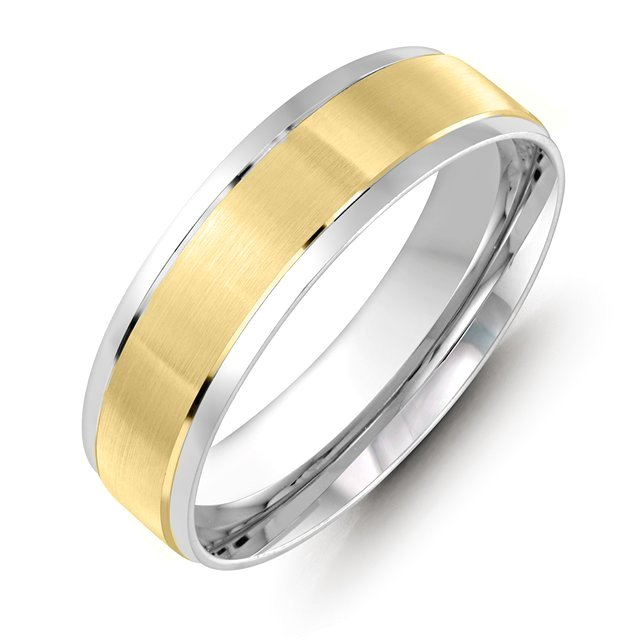Item # M36088E - 18kt two-tone gold 6.0mm wide comfort fit wedding band. The ring has satin finish in the center and high polished at the sides. Different finishes are available.
