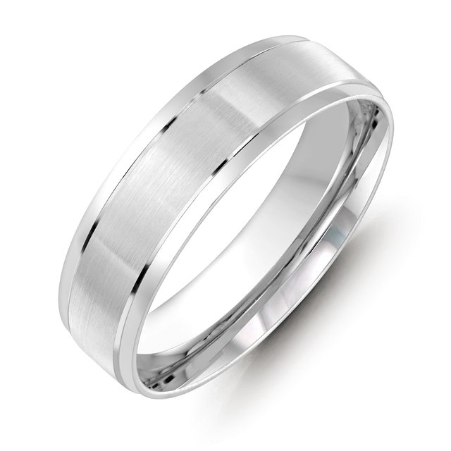 Item # M36088W - 14kt white gold 6.0mm wide comfort fit wedding band. The ring has satin finish in the center and high polished at the sides. Different finishes are available.