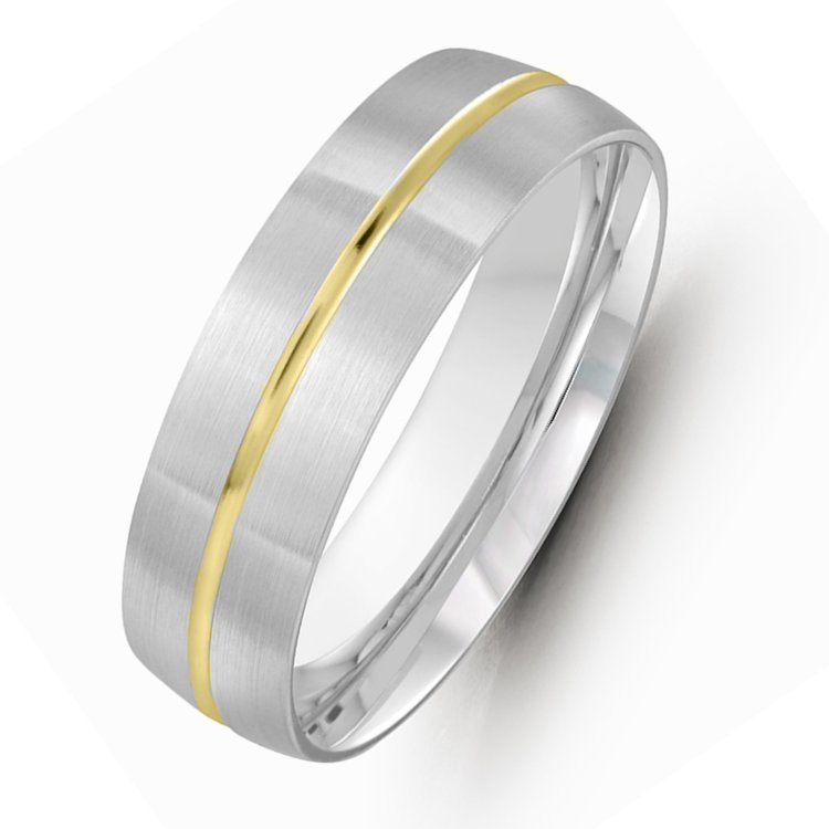 Item # M36209 - 14kt two-tone gold 7.0mm wide comfort fit wedding band. The ring is satin finished. Different finishes are available.