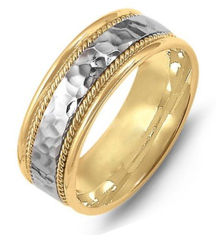 Item # M369831 - 14K two-tone gold, comfort fit, 8.0mm wide, center hammered, hand made wedding band.