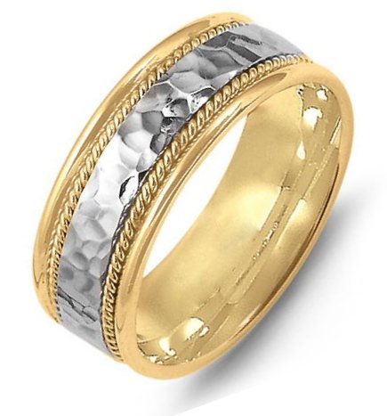 Item # M369831E - 18K two-tone gold, comfort fit, 8.0mm wide, center hammered, hand made wedding band.