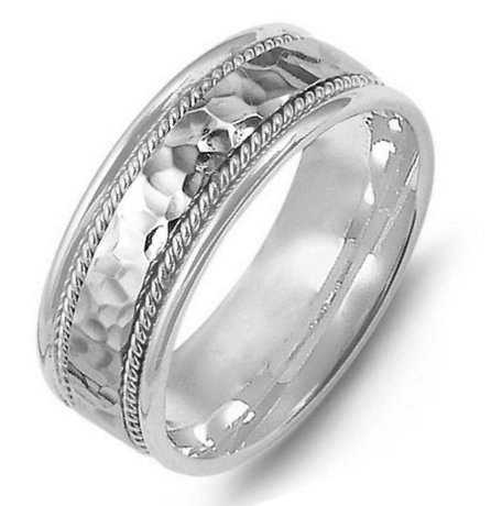 Item # M369831PD - Palladium, comfort fit, 8.0mm wide, center hammered, hand made wedding band.
