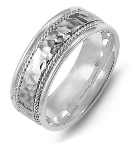 Item # M369831PP - Platinum, comfort fit, 8.0mm wide, center hammered, hand made wedding band.