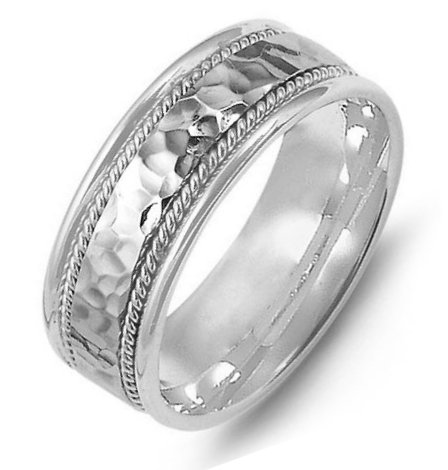 Item # M369831W - 14K white gold, comfort fit, 8.0mm wide, center hammered, hand made wedding band.