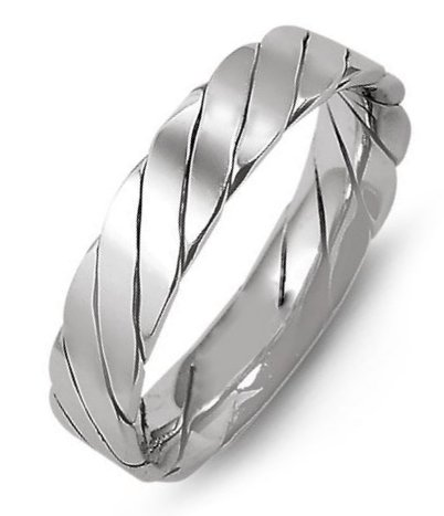 Item # M421520W - 14K white gold, 5.0mm wide, comfort fit, hand made wedding band.