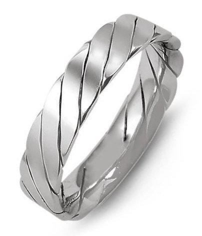 Item # M421520WE - 18K white gold, 5.0mm wide, comfort fit, hand made wedding band.