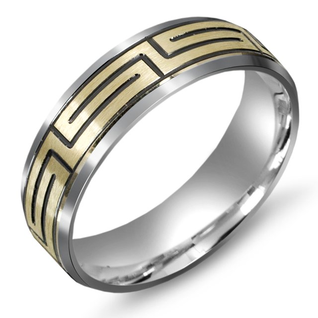 Item # M5751E - 18K two tone gold wedding band with Greek Key design. The wedding band is comfort fit 7.0mm wide. The design is black antiqued.