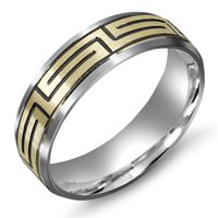 Item # M5751PE - Platinum and 18K Greek Key Wedding Band
