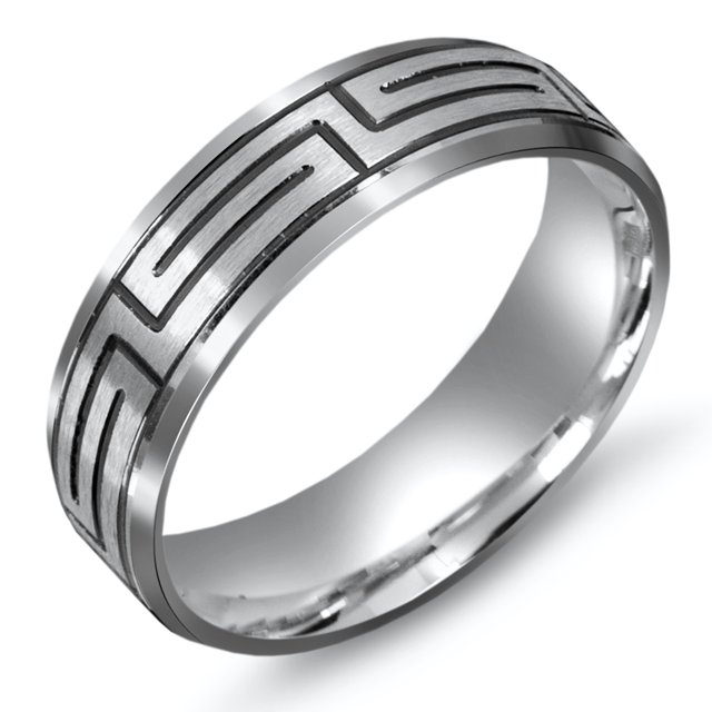 Item # M5751WE - 18K white gold wedding band with Greek Key design. The wedding band is comfort fit 7.0mm wide. The design is black antiqued.