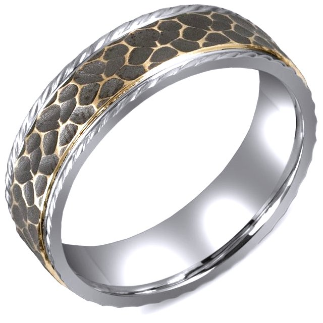 Item # M5755E - 18K two tone gold hammered finish rugged wedding band . The wedding band is comfort fit 7.0mm wide. The design is black antiqued.