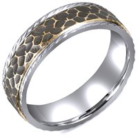 Item # M5755PE - Platinum and 18KHammered Antiqued Wedding Band