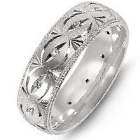Item # M8277PD - Palladium Carved Diamond Wedding Band
